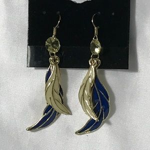 BLUE AND CREAM FEATHER DANGLE EARRINGS
